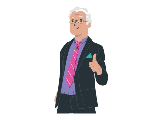 Illustration man giving a thumbs up
