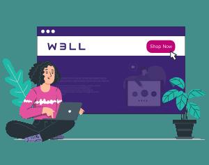 Illustration woman navigating w3ll homepage