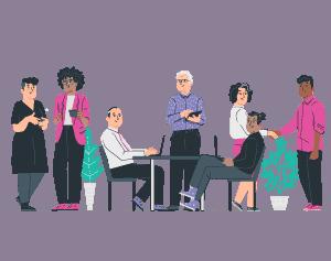 illustration office staff