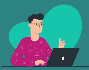 illustration man with laptop