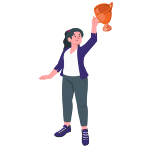 illustration woman with trophy